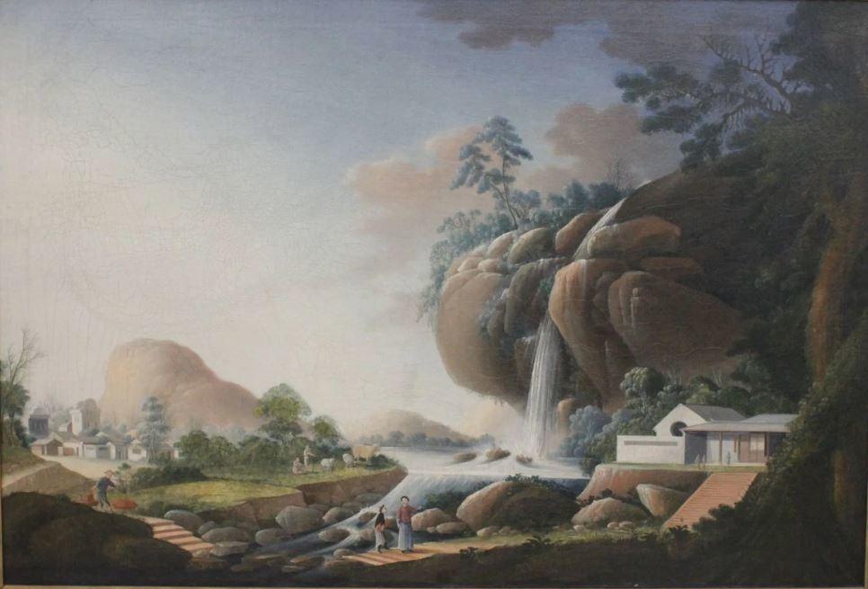 Chine, grand paysage chinois, attribuée à Tingqua, vers 1830