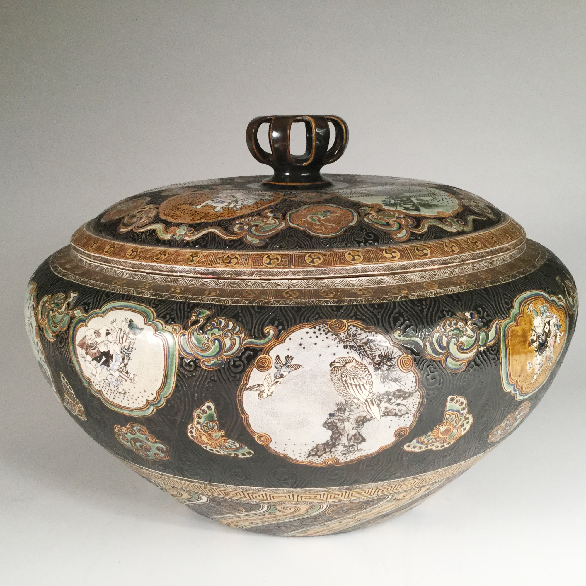 VENDU:SOLD Japon, TANZAN Rokuro, Paire de grands pots couverts, 1880