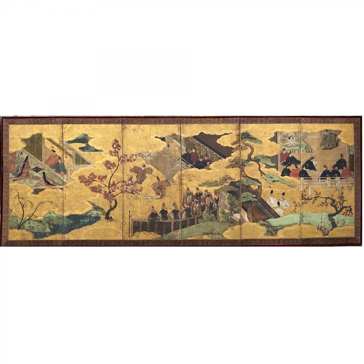 Paravent , Le dit du Genji, Japon époque Edo 17e siècle