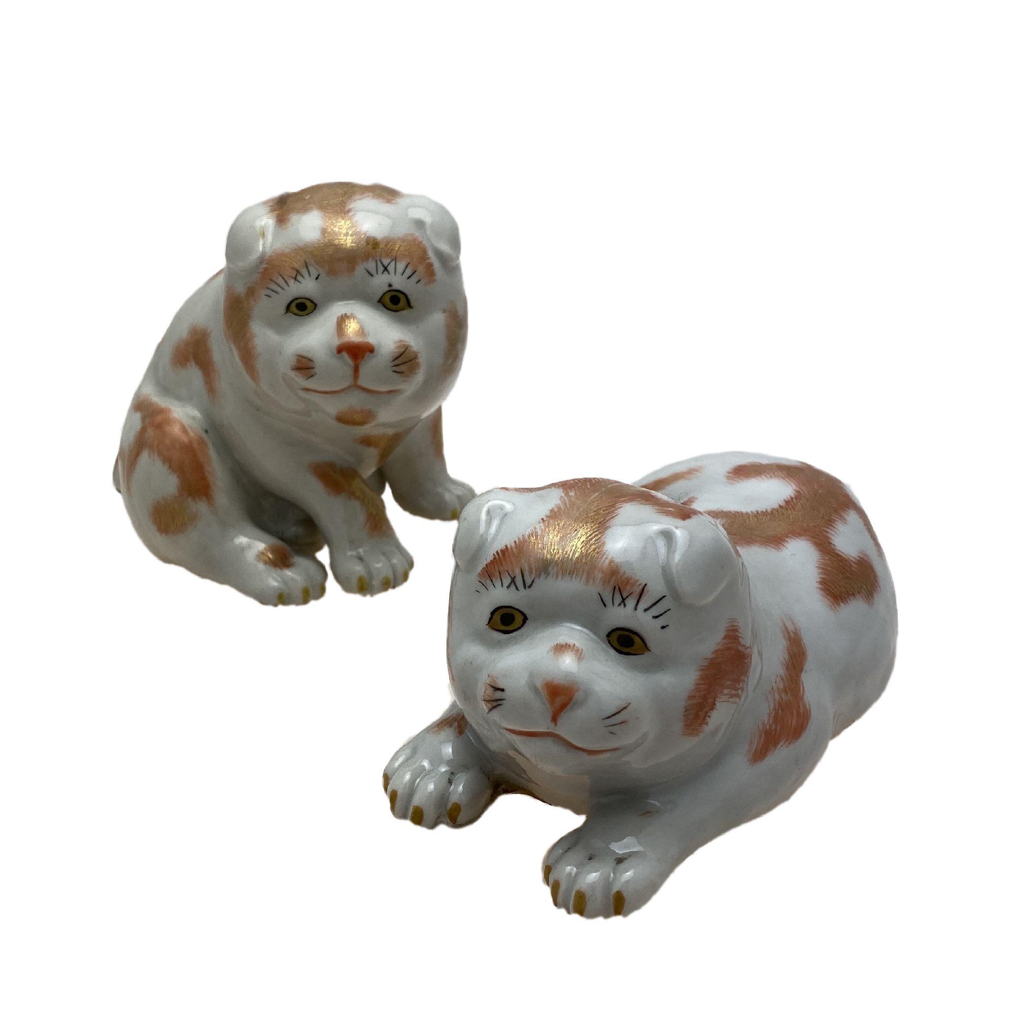 VENDU/SOLD apon, deux petits chiens, porcelaine de Kutani, 19ème siècle