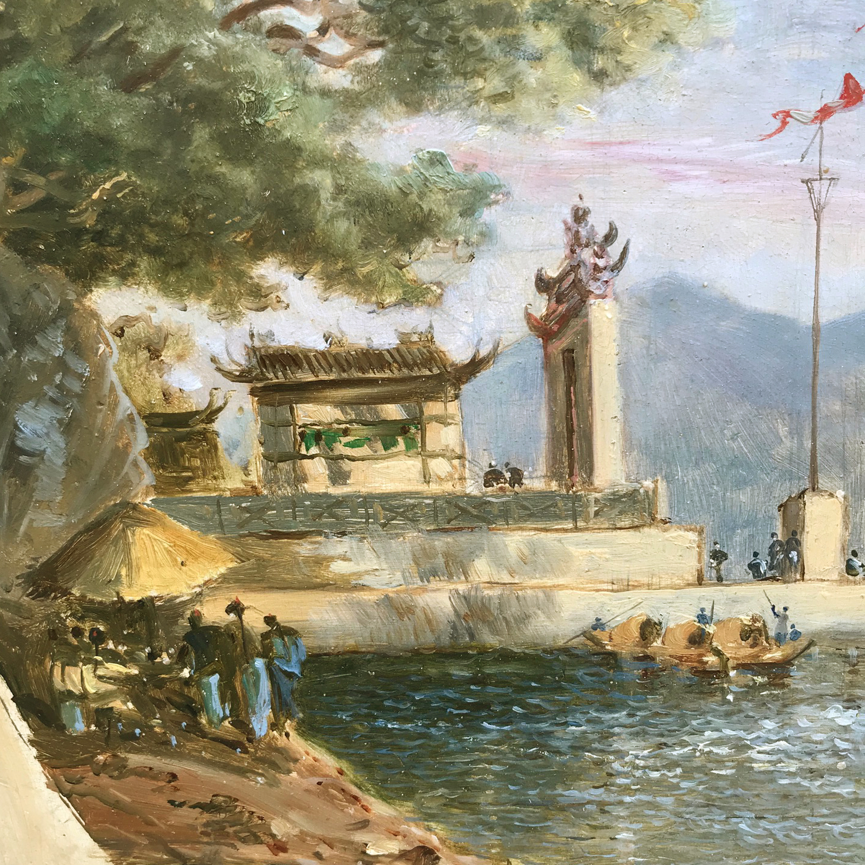 Le Temple de Ma Kok, Macau - Atrribué à Auguste Borget (1808-1877)