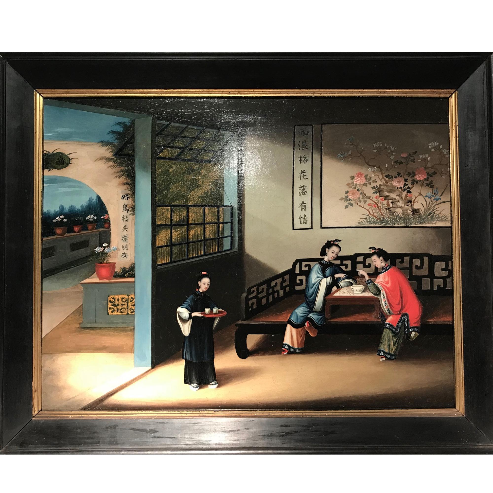 Chine, huile sur toile 19ème siècle