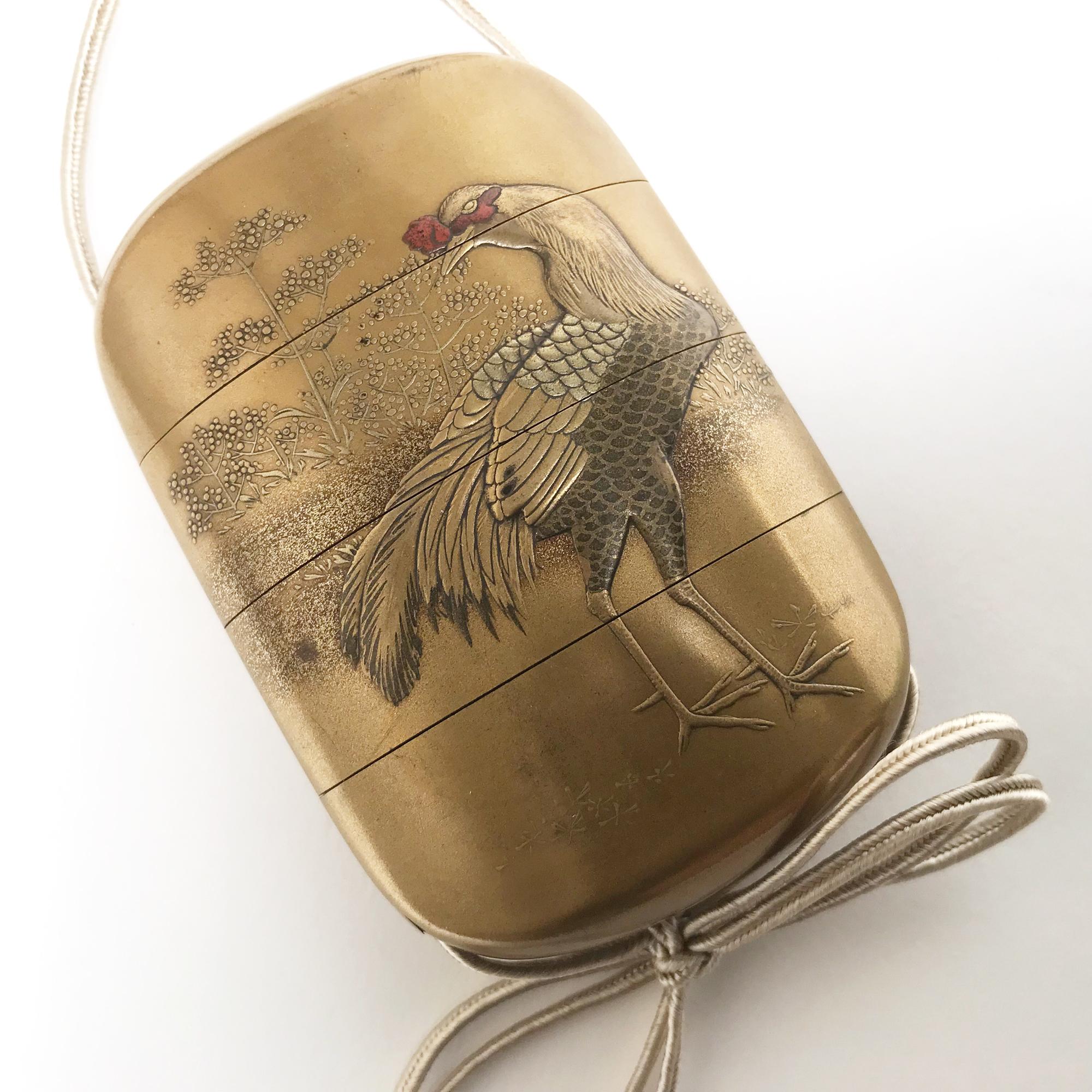 VENDu / SOLD Inro en laque d'or, Japon, fin de l'époque Edo, milieu du 19ème siècle
