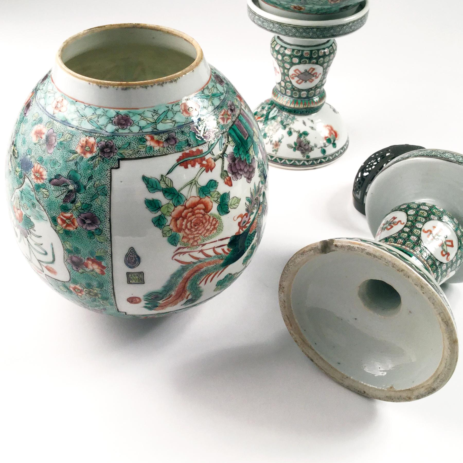 Chine, paire de lanternes en porcelaine, 19ème siècle