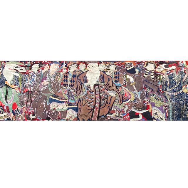 Chine, grande tenture murale avec scène d'opéra, 19e siècle