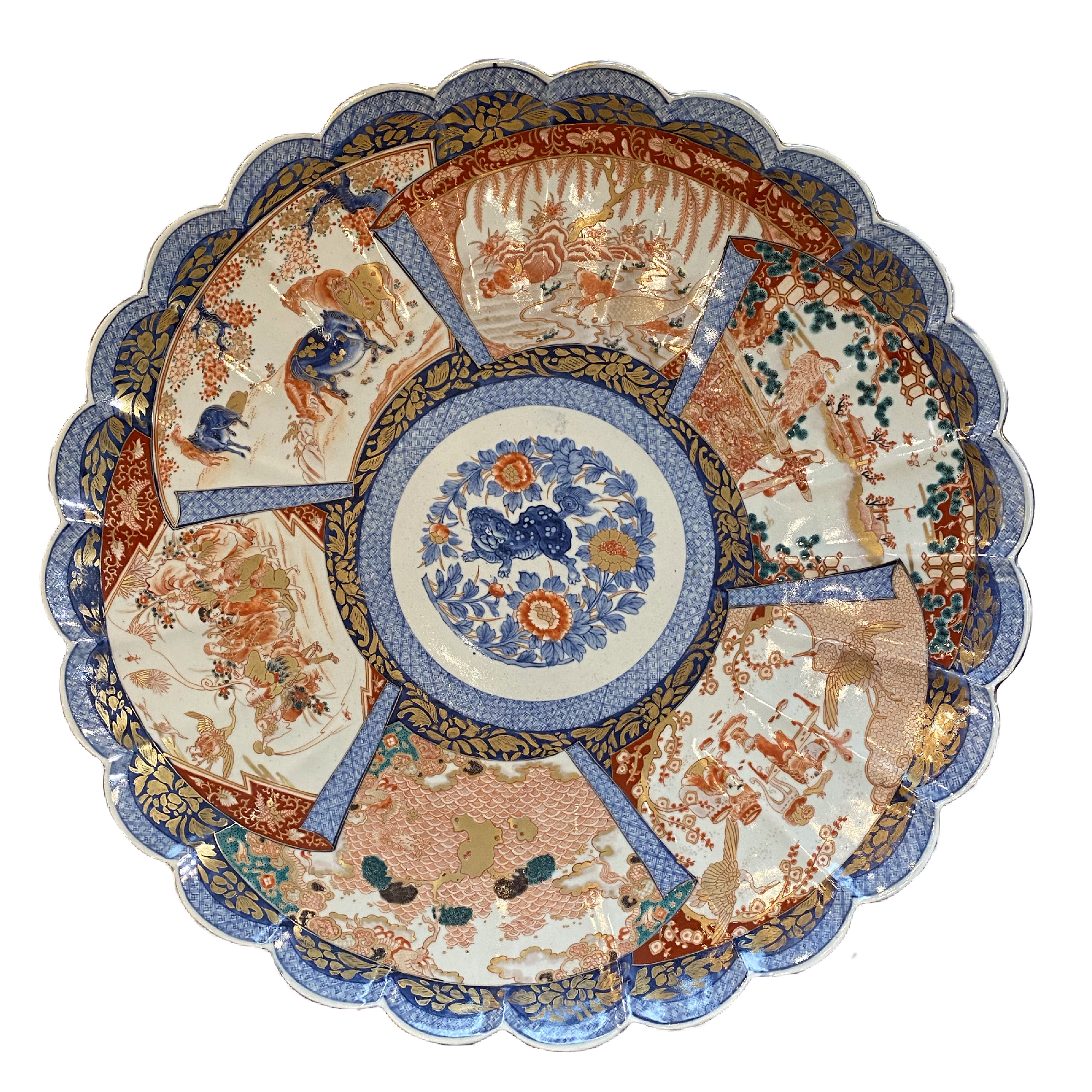 Japon, Arita, Très Grand plat Imari, époque Meiji., Grand plat Imari époque meiji