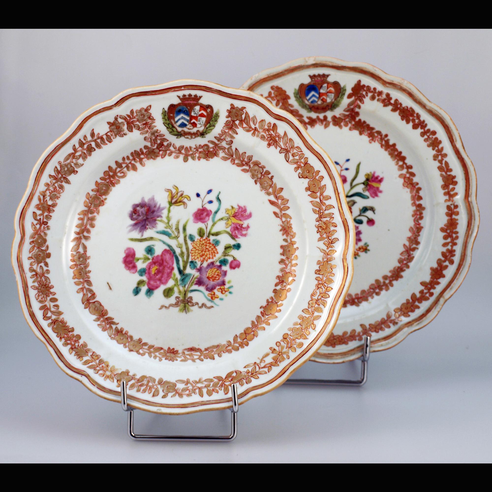 Chine, paire d'assiettes armoriées, 18ème siècle