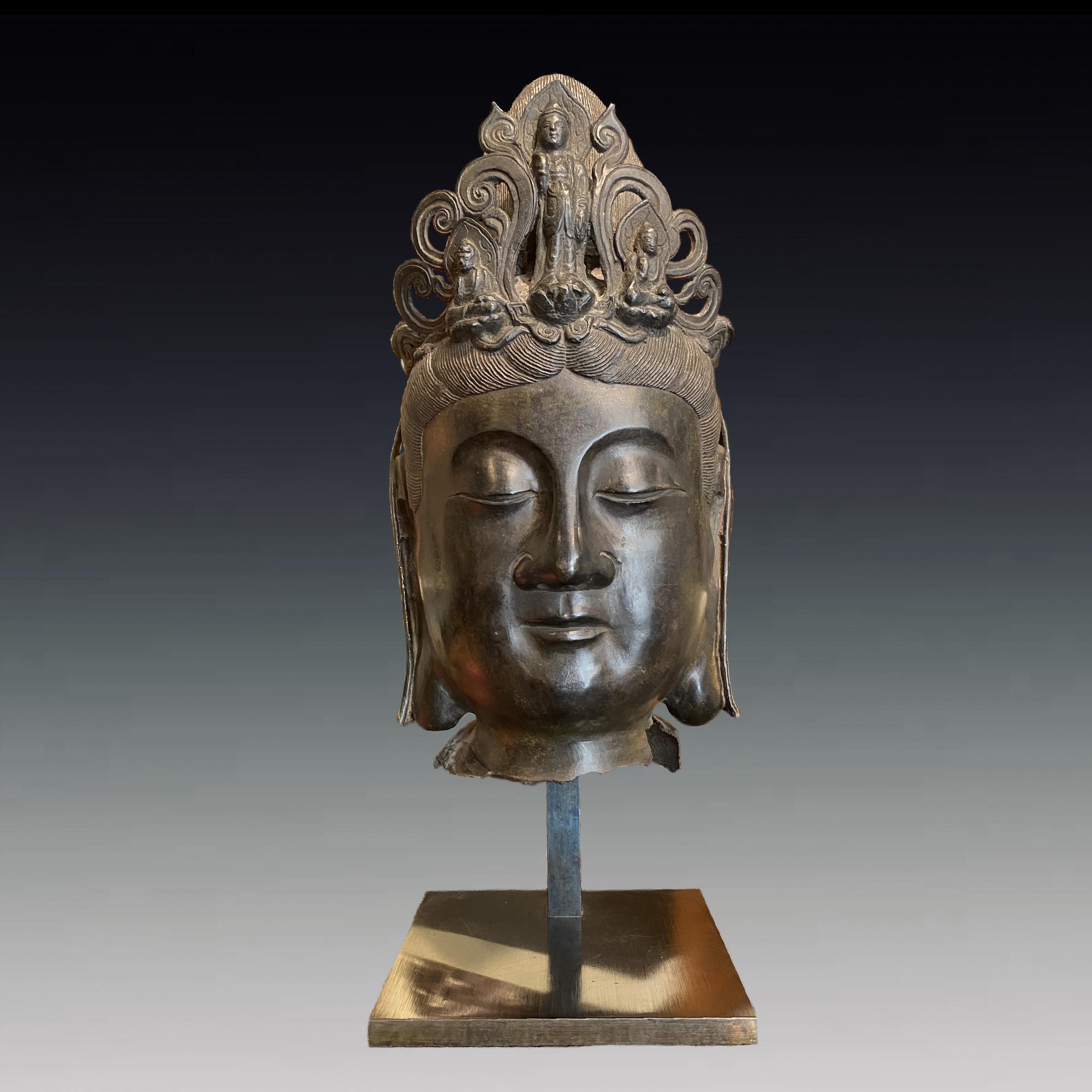Chine, grande tête de Bodhisattva en bronze, 19ème siècle