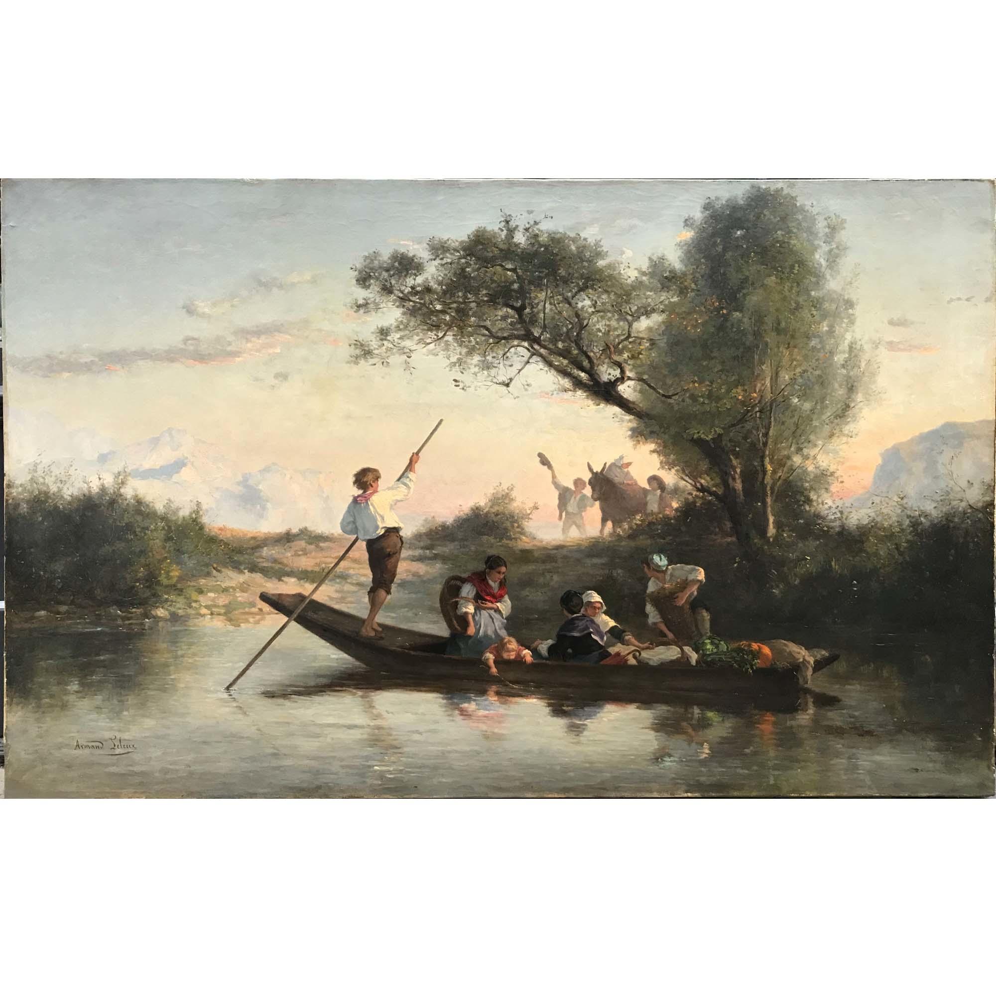 Vendu/Sold  Armand Leleux, Promenade en barque, vers 1840