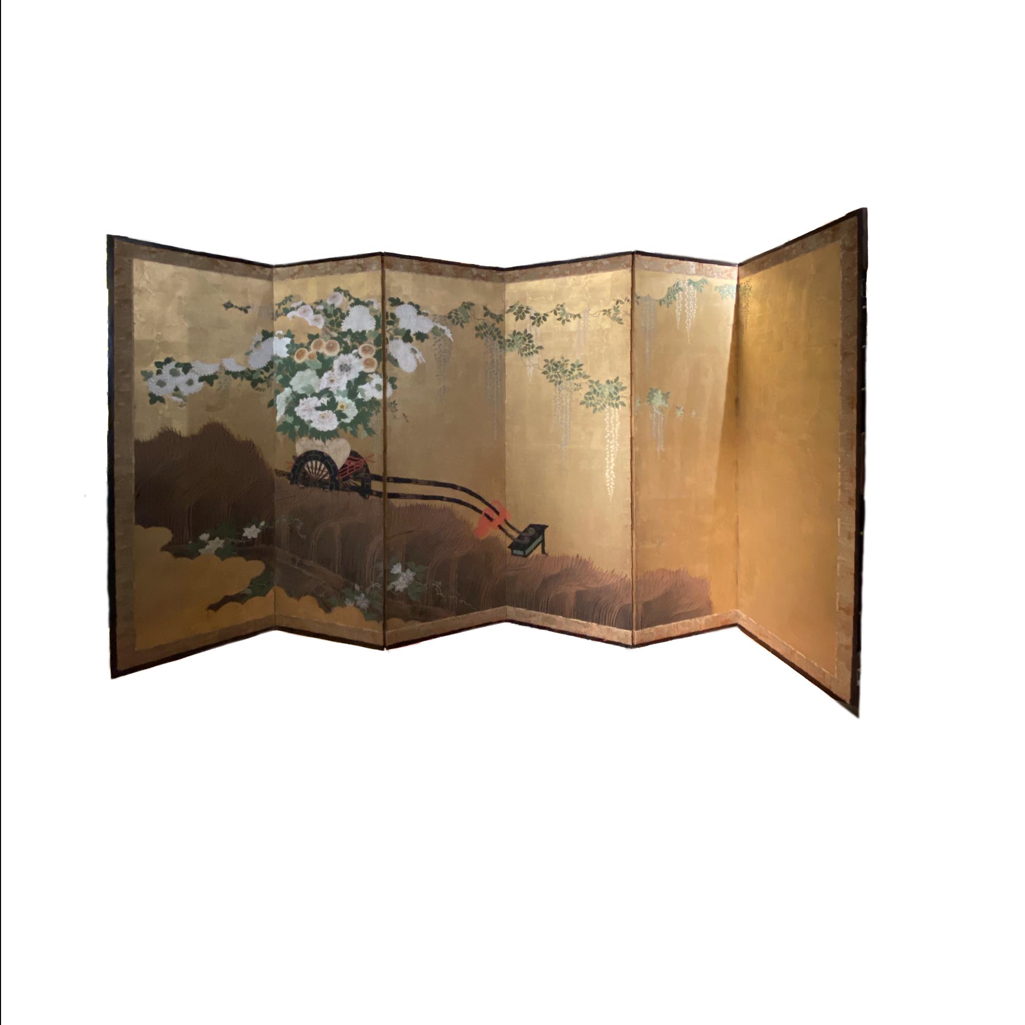 Japon, paravent avec un chariot portant un panier de fleurs, période Edo, XVIIIe siècle.