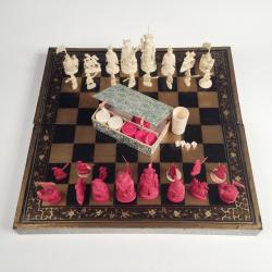 Chine, Boite de jeu pliante formant jeu d'échecs et jeu de jacquet (Backgammon), 19ème siècle