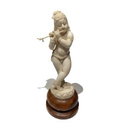 Krishna jouant de la flute, ivoire Anglo-Indien, fin du  19ème Siècle