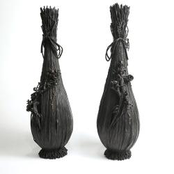 Japon, paire de vases en bronze par  Oshima Joun, époque Meiji