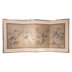 Corée, paravent à scéne de Chasse, début 19ème siècle.