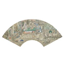 Chine, peinture sur feuille d'éventail, époque Qing, 18ème siècle.