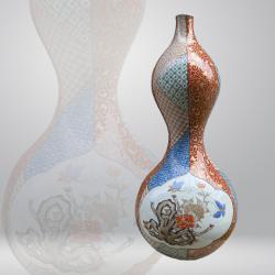 Japon, vase e porcelaine de Kutani, 19ème siècle