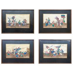 Chine, 4 peintures sur papier de moelle, 19ème siècle.