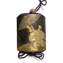 VENDU/SOLD Japon, inro en laque, signé  Kaomi Tadamitsu, seconde moitié du 18ème siècle.
