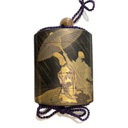 Japon, inro en laque, signé  Kaomi Tadamitsu, seconde moitié du 18ème siècle.