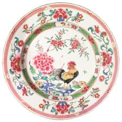 Chine, Assiette au coq, époque Yongzheng