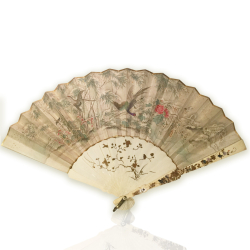 VENDU/ SOLD Japon, éventail en soie et ivoire à décor Shibayama, époque Meiji