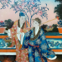 Chine, Fixé sous verre vers 1840/60, Chinese reverse glass painting